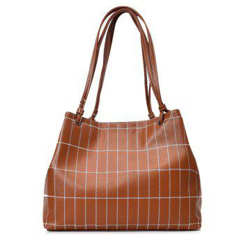 Plaid Faux Leather Stitching Shoulder Bag - BROWN BROWN