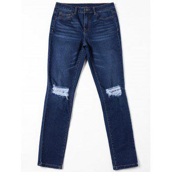 Cat's Whisker Ripped Jeans with Pockets - DENIM BLUE DENIM BLUE
