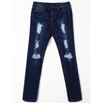 Ripped Cat's Whisker Jeans with Pockets - BLACK BLUE L