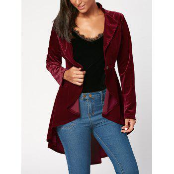 One Button High Low Peplum Velvet Blazer - WINE RED WINE RED