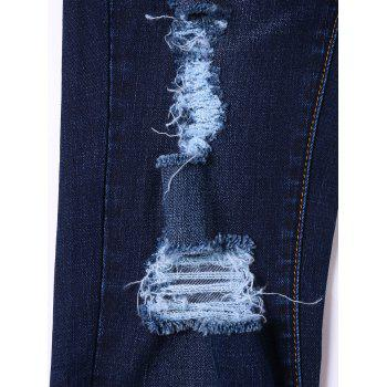 Ripped Cat's Whisker Jeans with Pockets - BLACK BLUE XL