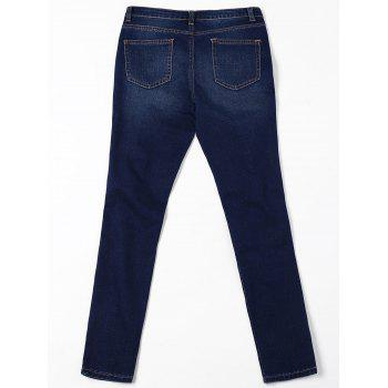 Ripped Cat's Whisker Jeans with Pockets - BLACK BLUE 2XL
