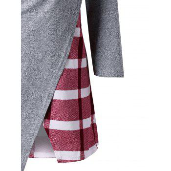 Marled Plaid Cowl Neck Top - RED M