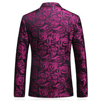 3D Roses Print Blazer Three Piece Suit - XL XL