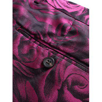 3D Roses Print Blazer Three Piece Suit - PURPLISH RED 2XL