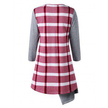 Marled Plaid Cowl Neck Top - RED RED