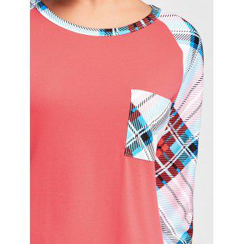Tartan Raglan Sleeve Tunic Tee - RED RED