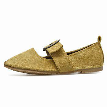 Faux Suede Buckle Strap Flats - YELLOW 36