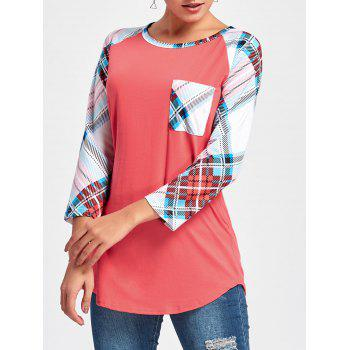 Tartan Raglan Sleeve Tunic Tee - RED 2XL