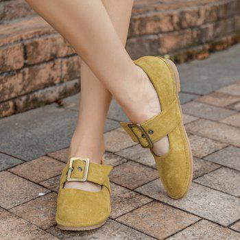 Faux Suede Buckle Strap Flats - YELLOW 38
