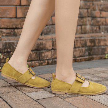 Faux Suede Buckle Strap Flats - YELLOW 39