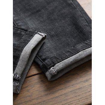 Straight Leg Embroidered Patch Ripped Jeans - DEEP GRAY 32
