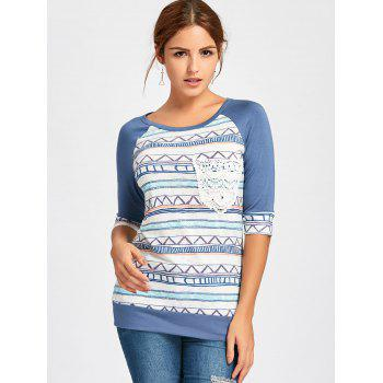 Crochet Pocket Raglan Sleeve Printed T-shirt - DEEP BLUE DEEP BLUE