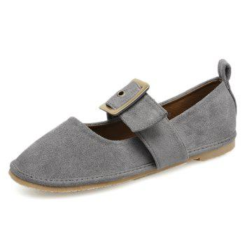 Faux Suede Buckle Strap Flats - GRAY 38