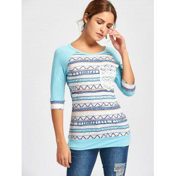 Crochet Pocket Raglan Sleeve Printed T-shirt - LIGHT BLUE 2XL