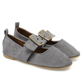 Faux Suede Buckle Strap Flats - GRAY 36