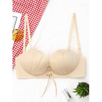 Shell Shape Lace-up Bra - COMPLEXION 85A