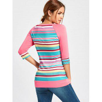 Crochet Pocket Raglan Sleeve Printed T-shirt - PINK XL