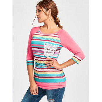 Crochet Pocket Raglan Sleeve Printed T-shirt - S S