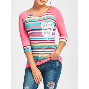 Crochet Pocket Raglan Sleeve Printed T-shirt - PINK S