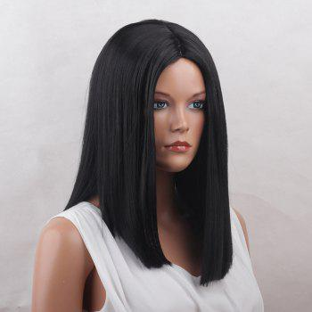Medium Center Parting Blunt Straight Synthetic Wig -  BLACK