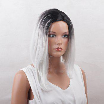 Center Parting Straight Medium Asymmetric Bob Colormix Synthetic Wig - COLORMIX