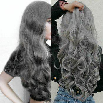 Center Parting Fluffy Long Loose Wave Synthetic Wig - GRAY GRAY
