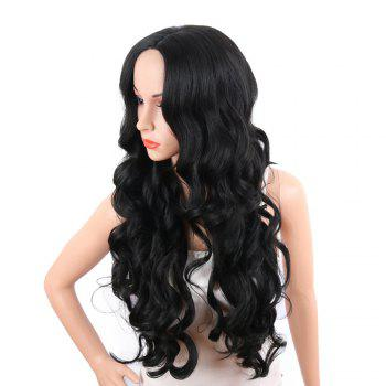 Middle Part Long Body Wave Synthetic Wig -  JET BLACK