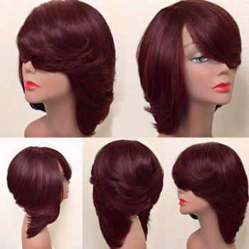 Short Oblique Bang Thick Straight Feathered Bob Synthetic Wig - WINE RED WINE RED