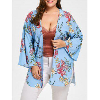 Floral Plus Size Flare Sleeve Long Cadigan - BLUE BLUE