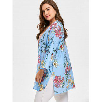 Floral Plus Size Flare Sleeve Long Cadigan - Bleu 4XL
