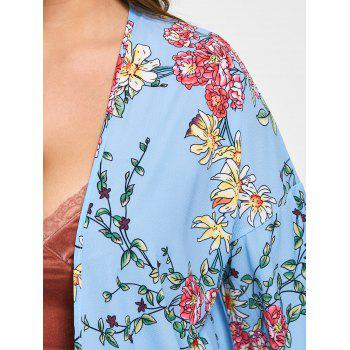 Floral Plus Size Flare Sleeve Long Cadigan - Bleu 5XL