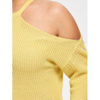 One Shoulder Plus Size Knit Sweater - LIMEADE ONE SIZE