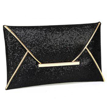 Metal Envelope Glitter Clutch Bag -  BLACK
