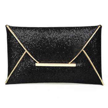Metal Envelope Glitter Clutch Bag - BLACK BLACK