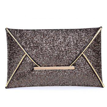 Metal Envelope Glitter Clutch Bag