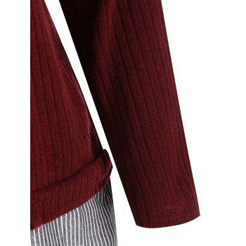 Striped Panel Plus Size Drop Shoulder Knitwear - WINE RED 4XL