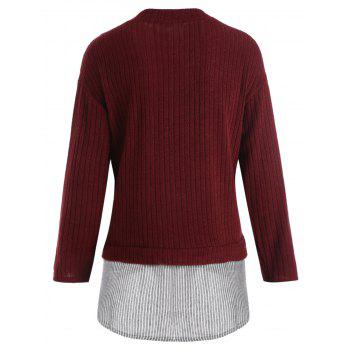 Striped Panel Plus Size Drop Shoulder Knitwear - WINE RED 5XL