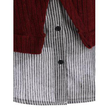 Striped Panel Plus Size Drop Shoulder Knitwear - 5XL 5XL