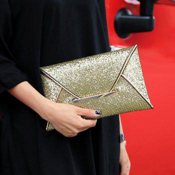Metal Envelope Glitter Clutch Bag -  GOLDEN