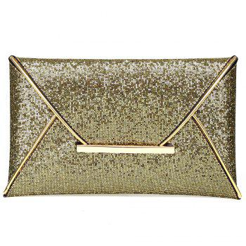 Metal Envelope Glitter Clutch Bag - GOLDEN GOLDEN