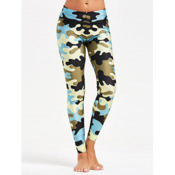 Camouflage Printed Tight Yoga Leggings - BLUE S