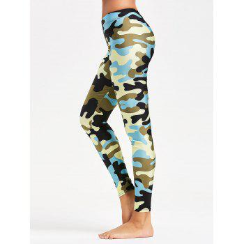 Camouflage Printed Tight Yoga Leggings - BLUE M