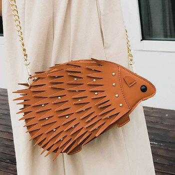 Rivet Chain Hedgehog Shape Crossbody Bag - BROWN