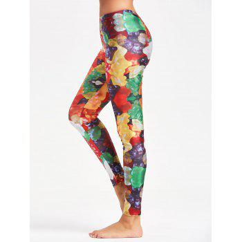 Multicolor Candy Pattern Leggings for Sports - YELLOW S