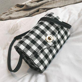 Plaid Color Blocking Crossbody Bag - BLACK