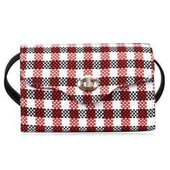 Plaid Color Blocking Crossbody Bag - RED RED
