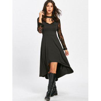 Mock Neck High Low Robe à la dentelle - Noir S