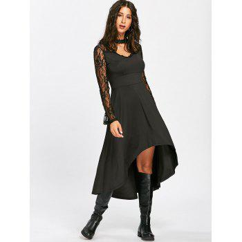 Mock Neck High Low Robe à la dentelle - Noir L