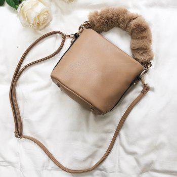 Zipper PU Leather Crossbody Bag -  KHAKI